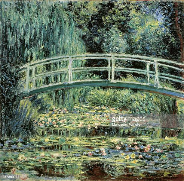 Russia Moscow Pushkin Museum of Fine Arts All A bridge over a pond full of water lilies