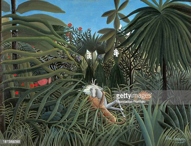 Russia Moscow Pushkin Museum of Fine Arts All A jaguar attacks a horse in the jungle
