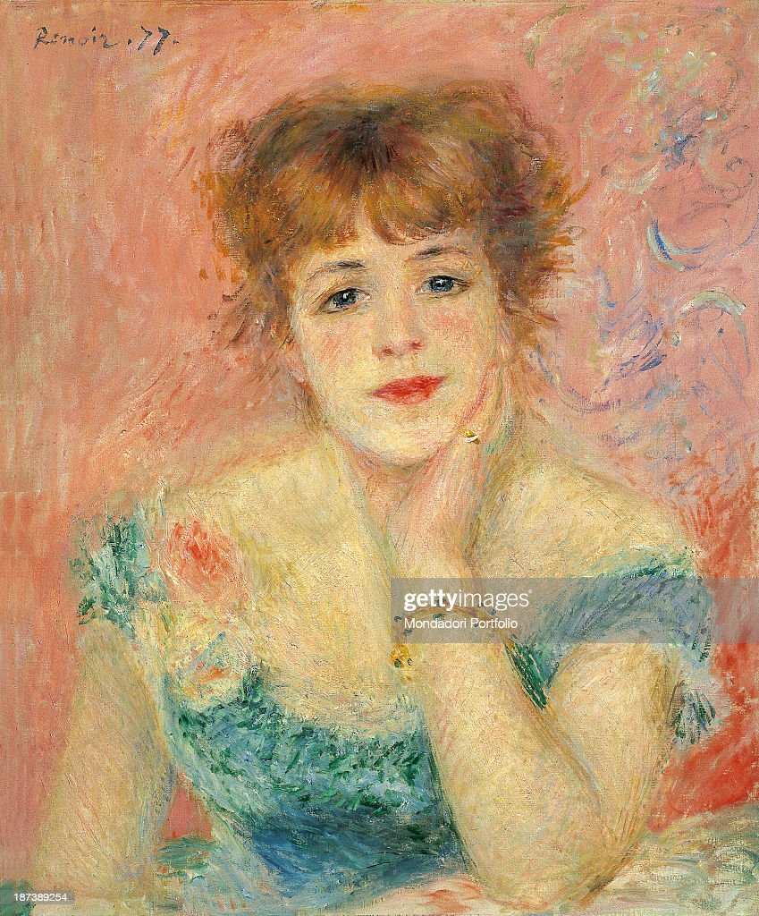 Portrait of the Actress Jeanne Samary, by Renoir Pierre-Auguste, 19th Century, 1877, oil on canvas, cm 56 x 47 : News Photo