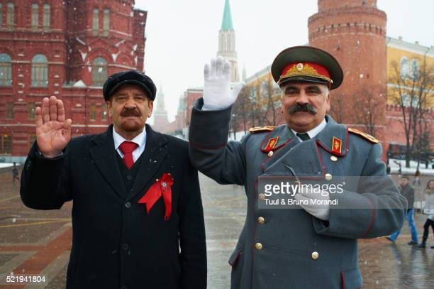 Russia, Moscow, Red Square, Lenin and Stalin impersonators