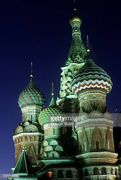 Russia Moscow Red Square Saint Basil's Cathedral Night view