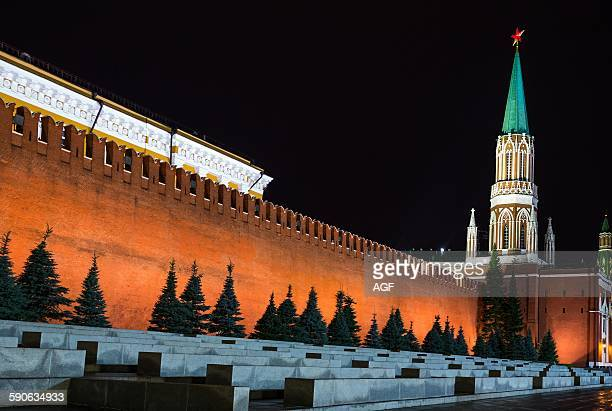 Russia Moscow Red Square the Kremlin wall and the Nikolskaya tower