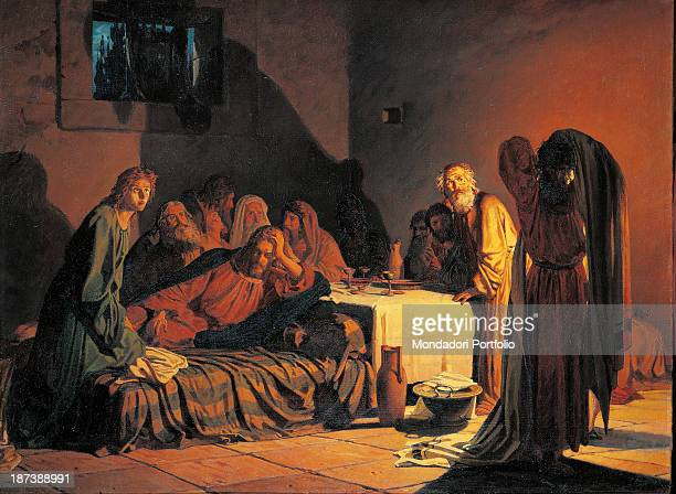 Russia Moscow State Tretyakov Gallery Jesus with the 12 apostles in a triclinium during the Last Supper The darkened room is lit only by candlelight