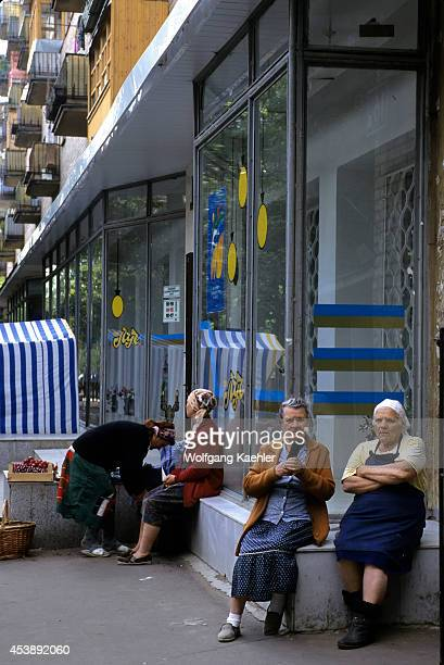 Russia Moscow Street Scene With Women Babushkas