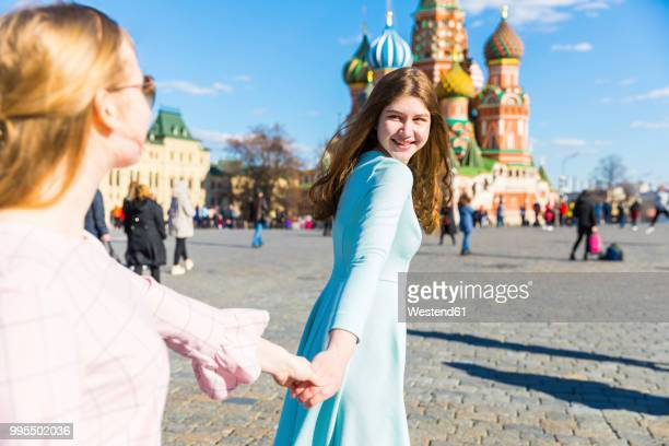 Russia, Moscow, teenage girls visiting the Red Square