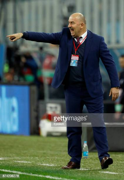 Russia national team head coach Stanislav Cherchesov gestures during Russia and Spain International friendly match on November 14 2017 at Saint...