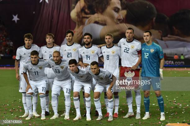 Russia national team players line up during the UEFA Nations League football match between Turkey v Russia at Senol Gunes Sport complex stadium in...