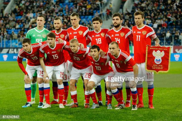 Russia national team players pose before Russia and Spain International friendly match on November 14 2017 at Saint Petersburg Stadium in Saint...