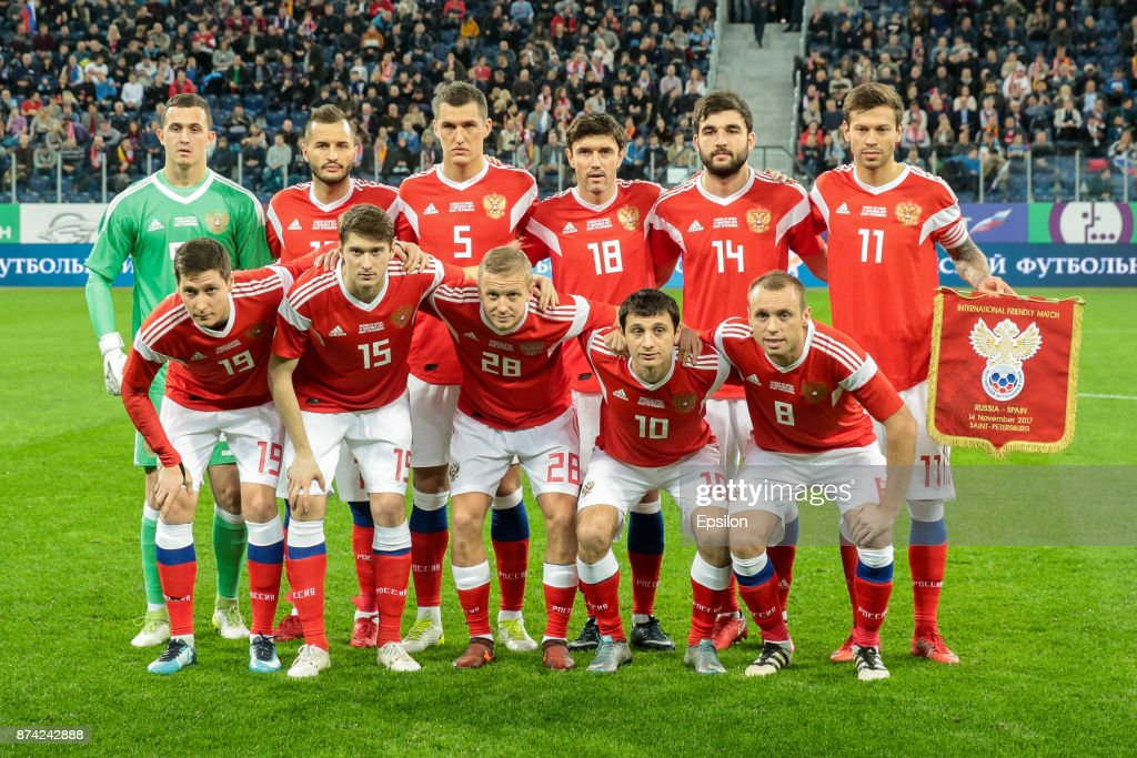 Russia national team players pose before Russia and Spain International friendly match on November 14, 2017 at Saint Petersburg Stadium in Saint Petersburg, Russia.