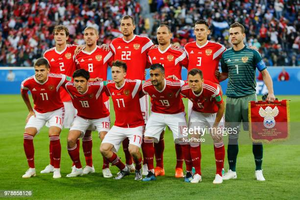 Russia national team players pose for a photo during the 2018 FIFA World Cup Russia group A match between Russia and Egypt on June 19 2018 at Saint...