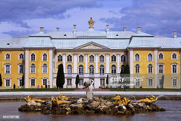 Russia, Near St. Petersburg Petrodvorets , Upper Park With Grand Palace.