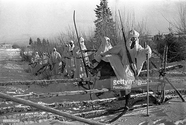 Russia NorthWest Leningrad Region 1930s Soviet soldiers patrolling near the front lines during war with Finland 19391940