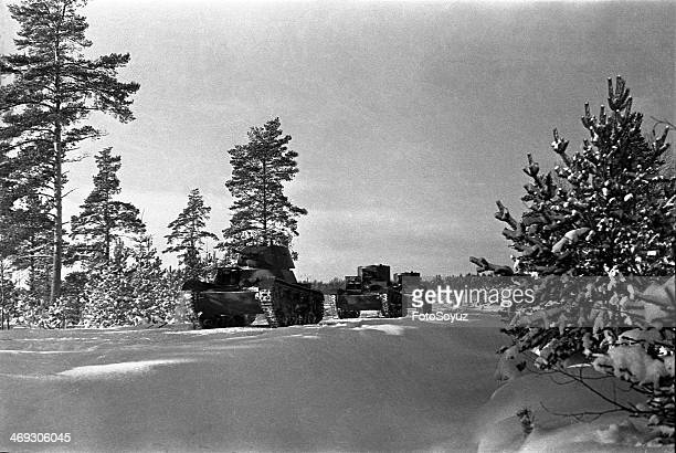Russia NorthWest Leningrad Region 1930s War with Finland 19391940 Soviet tanks going to the front line