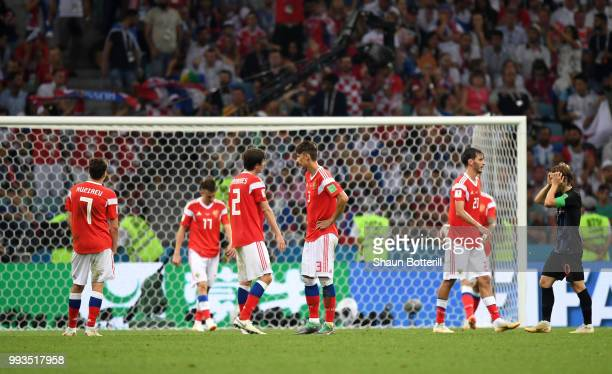 Russia palyers look dejected following Croatia second goal during the 2018 FIFA World Cup Russia Quarter Final match between Russia and Croatia at...