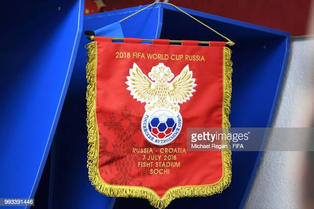 Russia pennant are seen inside the Russia dressing room prior to the 2018 FIFA World Cup Russia Quarter Final match between Russia and Croatia at...
