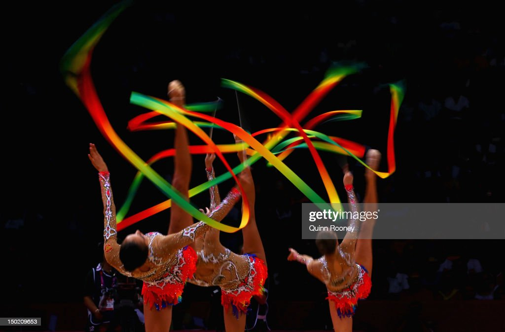 Russia perform during the Group All-Around Rhythmic Gymnastics Final Rotation 2 on Day 16 of the London 2012 Olympic Games at Wembley Arena on August 12, 2012 in London, England.