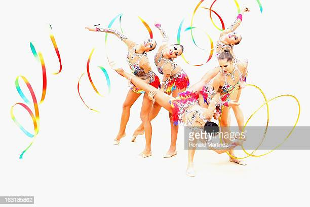 Russia perform during the Group AllAround Rhythmic Gymnastics Final Rotation 2 on Day 16 of the London 2012 Olympic Games at Wembley Arena on August...
