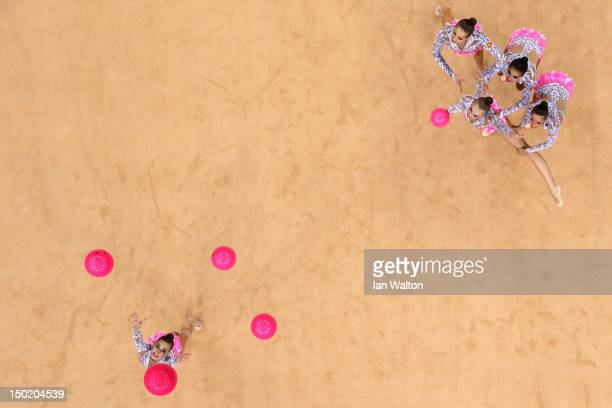 Russia perform with the ball during the Group AllAround Rhythmic Gymnastics Final Rotation on Day 16 of the London 2012 Olympic Games at Wembley...