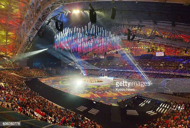 SOCHI Russia Photo shows a scene from the opening ceremony for the Sochi Winter Paralympics at the Fisht Olympic Stadium in Sochi Russia on March 7...