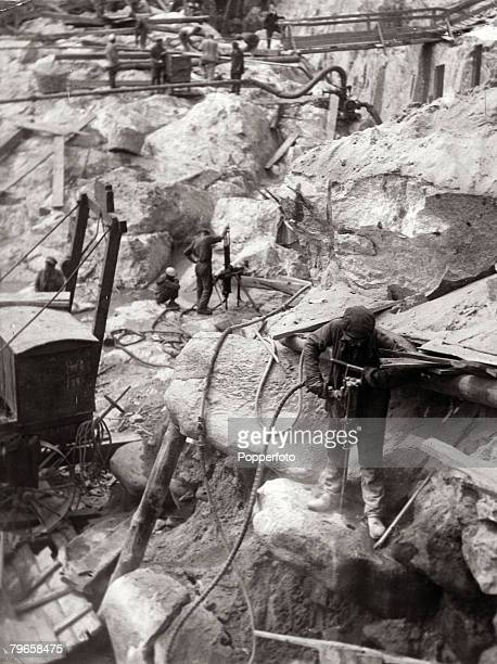 Circa 1920's, Political prisoners doing hard labour at the great quarries in the Dnieper region