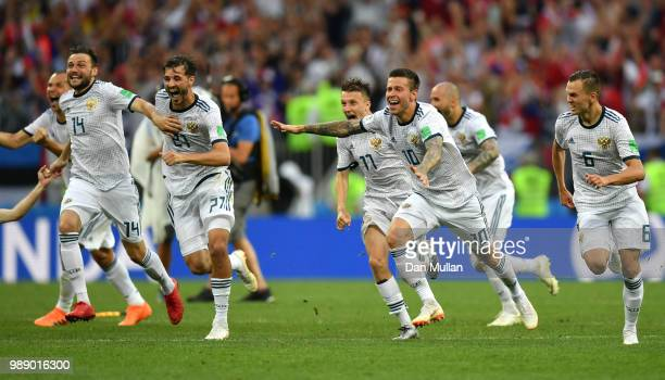 Russia players celebrate during the peanlty shoot out following the 2018 FIFA World Cup Russia Round of 16 match between Spain and Russia at Luzhniki...