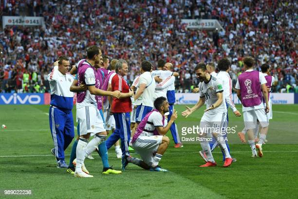 Russia players celebrate following their sides victory in the 2018 FIFA World Cup Russia Round of 16 match between Spain and Russia at Luzhniki...