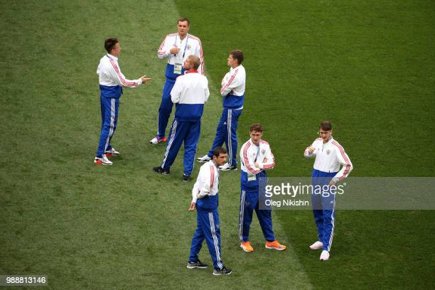 Russia players inpect the pitch prior to the 2018 FIFA World Cup Russia Round of 16 match between Spain and Russia at Luzhniki Stadium on July 1 2018...