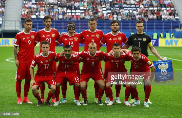 Russia players line up for the team photos prior to the FIFA Confederations Cup Russia 2017 Group A match between Russia and New Zealand at Saint...