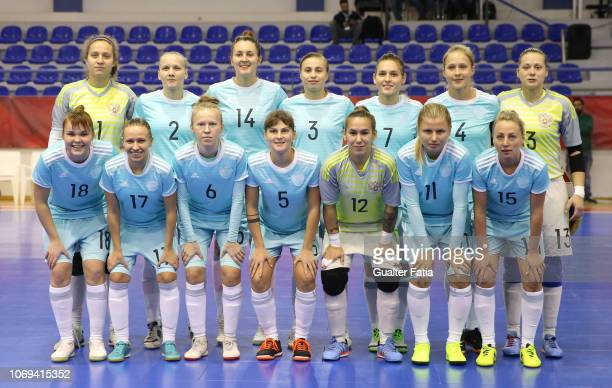 Russia players pose for a team photo before the start of the FUTSAL International match between Portugal and Russia at Pavilhao Municipal da Nazare...