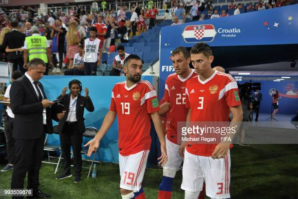 Russia players walk out for the second half during the 2018 FIFA World Cup Russia Quarter Final match between Russia and Croatia at Fisht Stadium on...