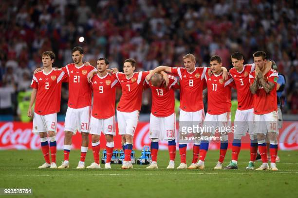 Russia players watch the peanlty shoot out during the 2018 FIFA World Cup Russia Quarter Final match between Russia and Croatia at Fisht Stadium on...