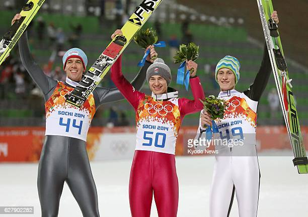 SOCHI Russia Poland's Kamil Stoch celebrates after winning the Winter Olympics men's normal hill individual event at the RusSki Gorki Jumping Center...