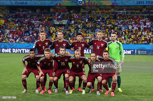 Russia pose for a team photo prior to the 2014 FIFA World Cup Brazil Group H match between Russia and South Korea at Arena Pantanal on June 17 2014...