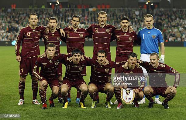 Russia pose for a team photo prior to the EURO 2012 Qualifier Group B match between the Republic of Ireland and Russia at Lansdowne Road on October 8...