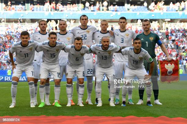 Russia pose prior to the 2018 FIFA World Cup Russia group A match between Uruguay and Russia at Samara Arena on June 25 2018 in Samara Russia