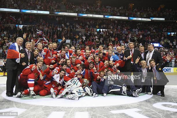 Russia poses for a team photo on the ice after their win over Canada during the Gold Medal Game of the International Ice Hockey Federation World...