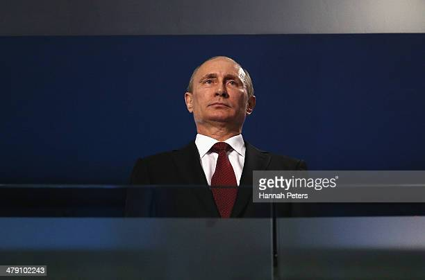 Russia President Vladimir Putin looks on during the Sochi 2014 Paralympic Winter Games Closing Ceremony at Fisht Olympic Stadium on March 16, 2014 in...