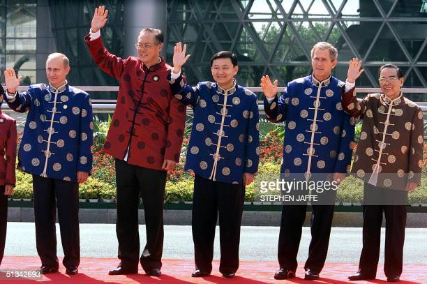 Russia President Vladimir Putin Prime MInister of Singapore Goh Chok Tong Thai Prime Minister Thaksin Shinawatra US President George W Bush and...