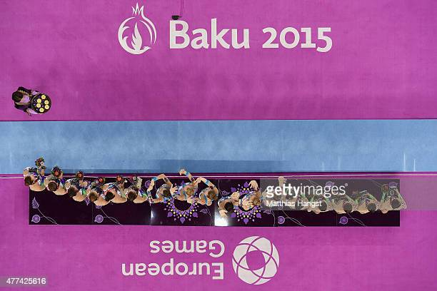 Russia receive the gold medals won in the Rhythmic Gymnastics Group AllAround final during day five of the Baku 2015 European Games at the National...