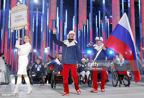 SOCHI Russia Russian athletes appear at the opening ceremony for the Sochi Winter Paralympics at the Fisht Olympic Stadium in Sochi Russia on March 7...
