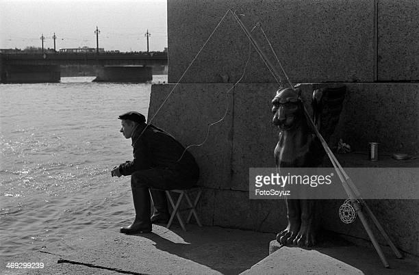 Russia SaintPetersburg 1960s The fisher on Neva
