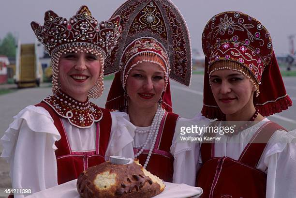 Russia Sakhalinairport Traditional Welcome Ceremony Women Offering Bread And Salt
