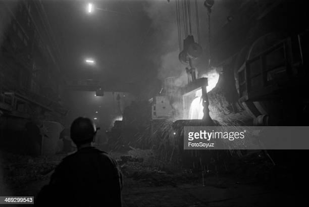 Russia, Siberia, Krasnoyarsk Region, 1970s: Melting copper?, Tajmyr, Zapoljare, October-November, 1979.