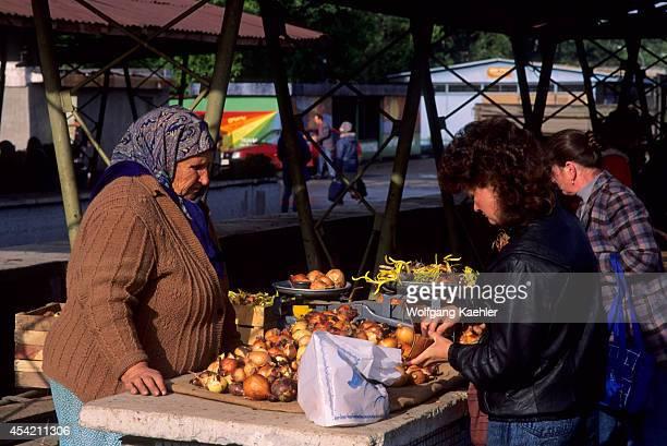 Russia Siberia Novosibirsk Market Scene People Buying Onions