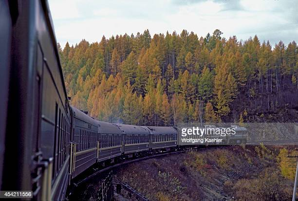 Russia Siberia Transsiberian Express Traveling Through Fall Landscape