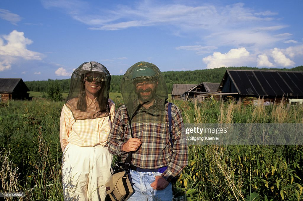 Russia, Siberia, Yenisey River, Lebed, Nature Preserve, Passengers With Mosquito Nets.