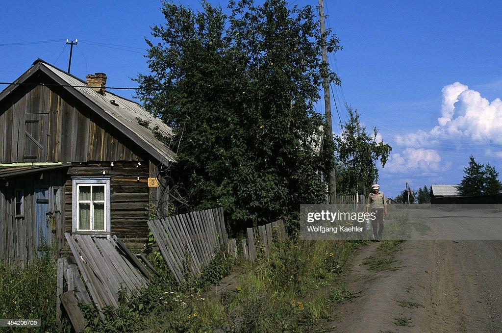 Russia, Siberia, Yenisey River, Turuchansk, Street Scene.