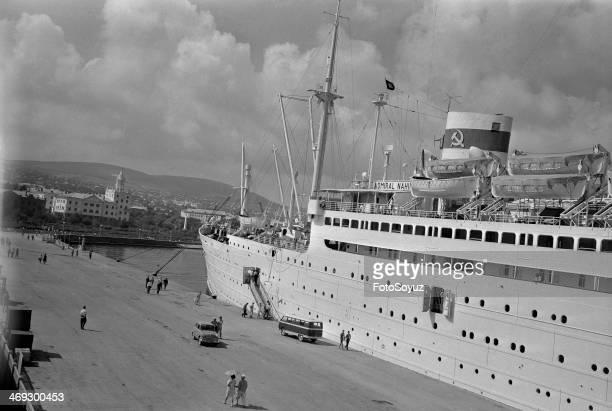 Novorossisk At a mooring a passenger steamship 'Admiral Nakhimov'