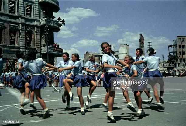 First postwar sports parade in Stalingrad Summer 1945