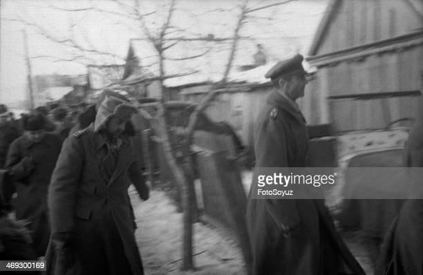 Russia, South, Volgograd Region, 1940s: Front Stalingradsky, Beketovka, Ahead the captured general-field marshal Fridrih background Pauljus, behind...